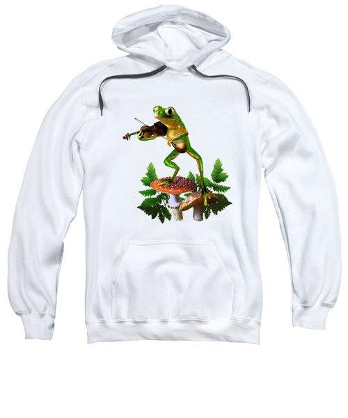 Humorous Tree Frog Playing A Fiddle Sweatshirt by Regina Femrite