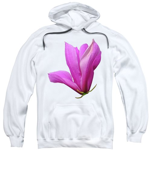 Pink Magnolia On White Sweatshirt