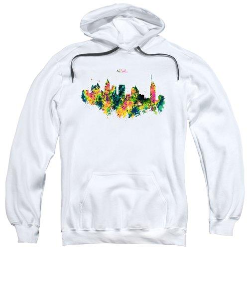 Atlanta Watercolor Skyline  Sweatshirt by Marian Voicu