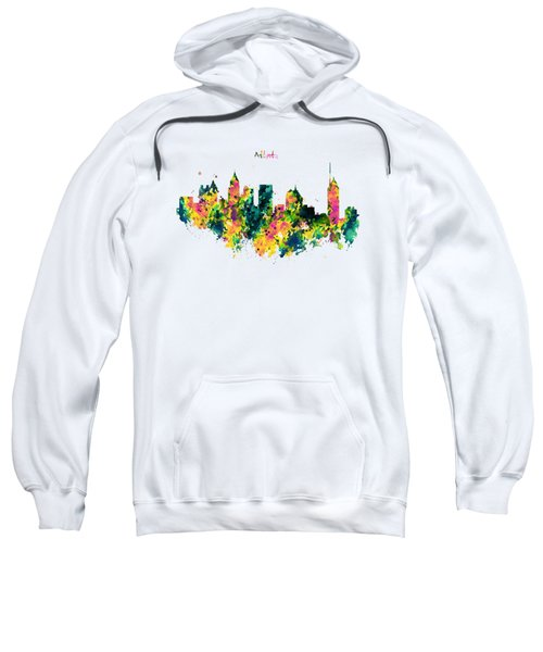 Atlanta Watercolor Skyline  Sweatshirt by Marian Voicu