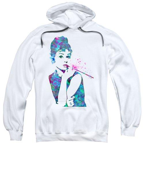Audrey Hepburn Watercolor Pop Art  Sweatshirt by Mary Alhadif