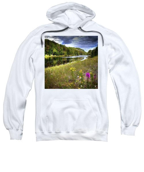 Sweatshirt featuring the photograph August Flowers On The Pond by David Patterson