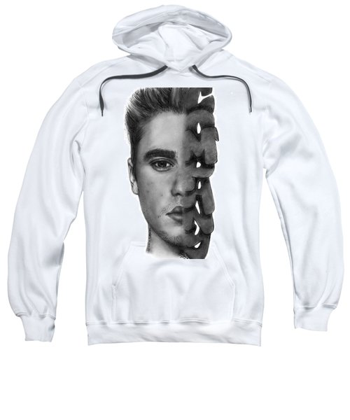 Justin Bieber Drawing By Sofia Furniel Sweatshirt