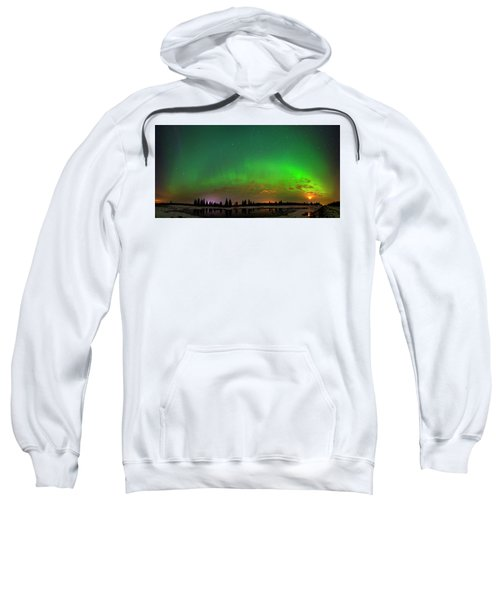 Aurora Over Pond Panorama Sweatshirt