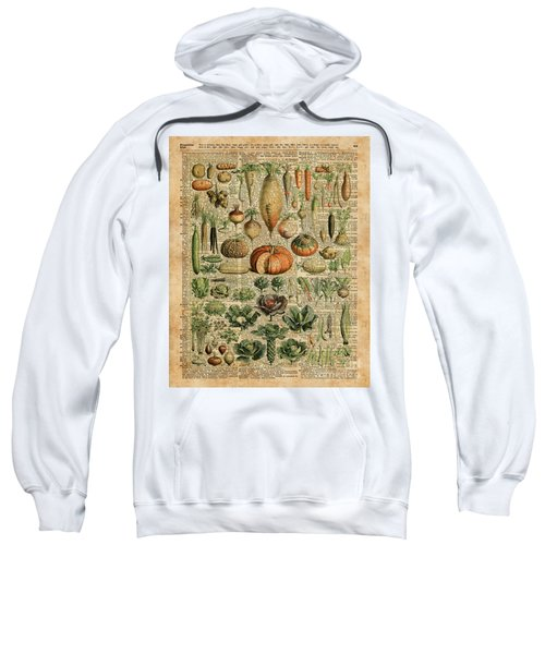 Autumn Fall Vegetables Kiche Harvest Thanksgiving Dictionary Art Vintage Cottage Chic Sweatshirt by Jacob Kuch