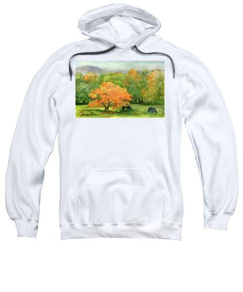 Autumn Maple With Horses Grazing Sweatshirt