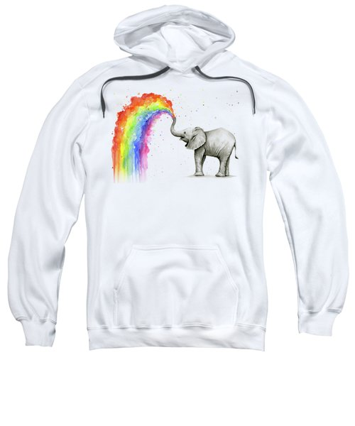 Baby Elephant Spraying Rainbow Sweatshirt