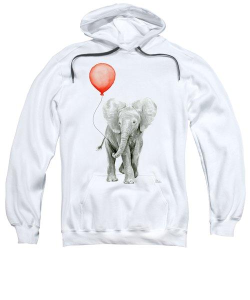 Baby Elephant Watercolor Red Balloon Sweatshirt