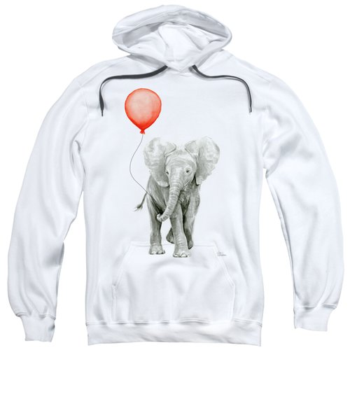 Baby Elephant Watercolor Red Balloon Sweatshirt