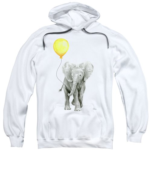 Baby Elephant Watercolor With Yellow Balloon Sweatshirt