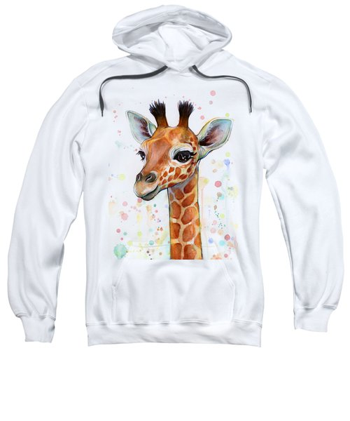 Baby Giraffe Watercolor  Sweatshirt by Olga Shvartsur
