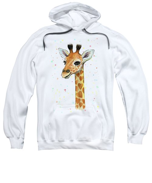 Baby Giraffe Watercolor With Heart Shaped Spots Sweatshirt by Olga Shvartsur