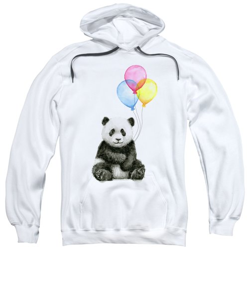 Baby Panda Watercolor With Balloons Sweatshirt