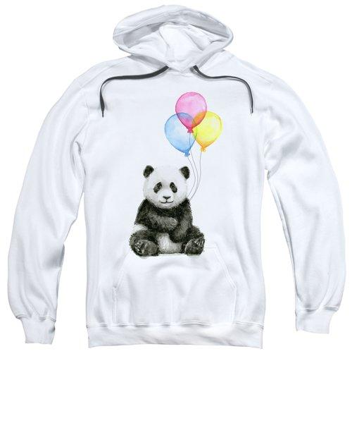 Baby Panda Watercolor With Balloons Sweatshirt