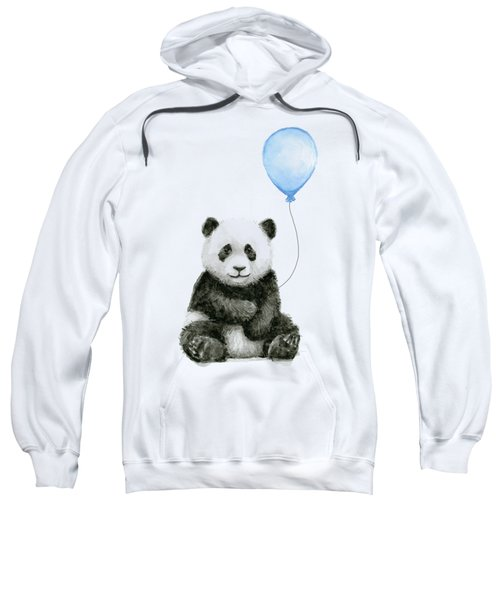 Baby Panda With Blue Balloon Watercolor Sweatshirt