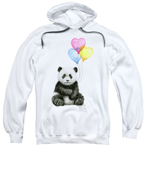 Baby Panda With Heart-shaped Balloons Sweatshirt by Olga Shvartsur