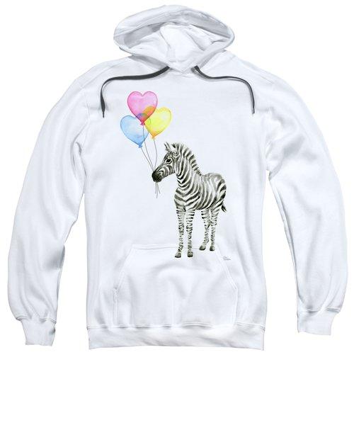 Baby Zebra Watercolor Animal With Balloons Sweatshirt