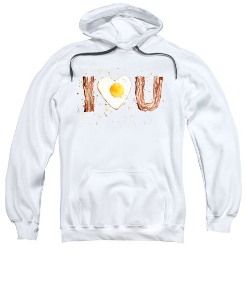 Bacon And Egg I Heart You Watercolor Sweatshirt by Olga Shvartsur