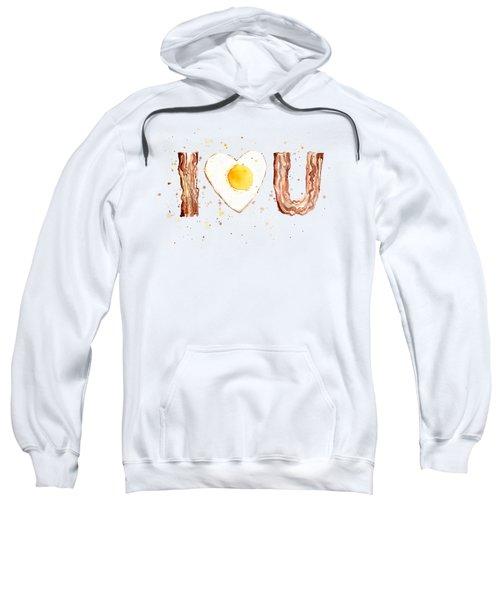 Bacon And Egg I Heart You Watercolor Sweatshirt