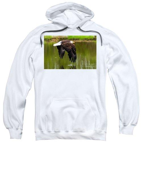 Bald Eagle Over A Pond Sweatshirt