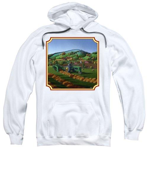 Baling Hay Field - John Deere Tractor - Farm Country Landscape Square Format Sweatshirt