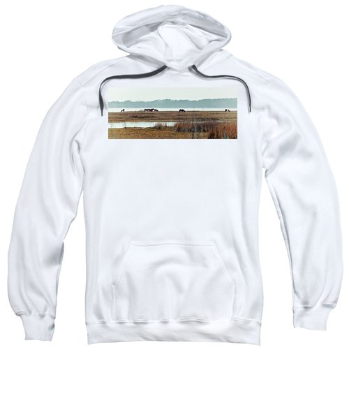 Band Of Wild Horses Along Sinepuxent Bay Sweatshirt