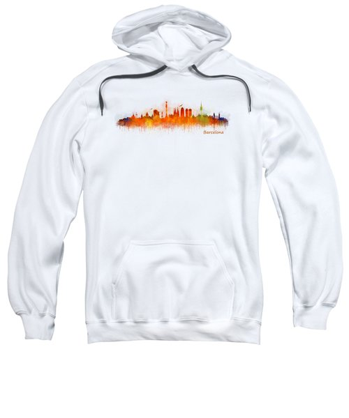 Barcelona City Skyline Hq _v3 Sweatshirt by HQ Photo