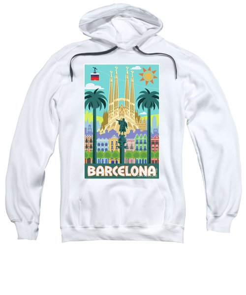 Barcelona Poster - Retro Travel  Sweatshirt