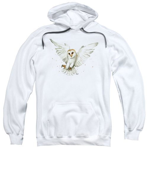 Barn Owl Flying Watercolor Sweatshirt