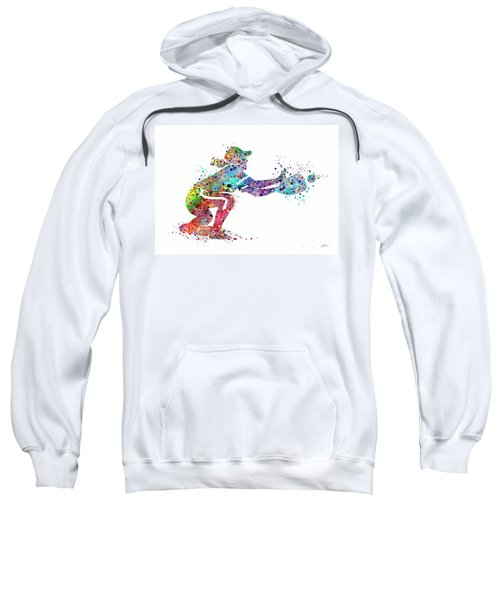 Baseball Softball Catcher 2 Sports Art Print Sweatshirt by Svetla Tancheva