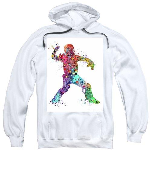 Baseball Softball Catcher 3 Watercolor Print Sweatshirt
