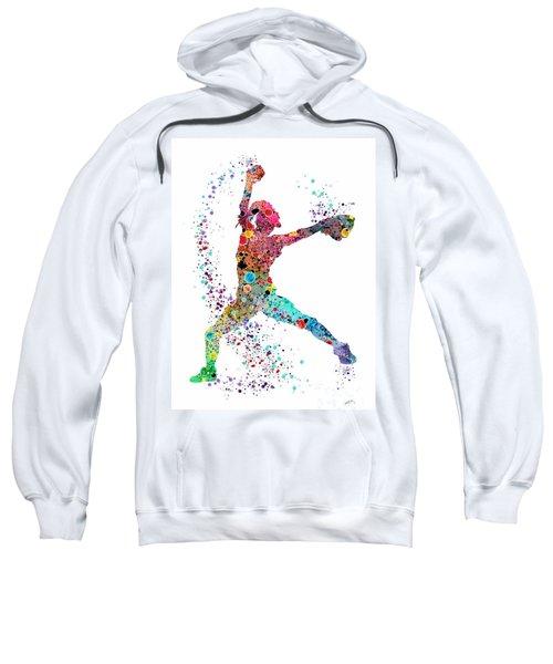 Baseball Softball Pitcher Watercolor Print Sweatshirt