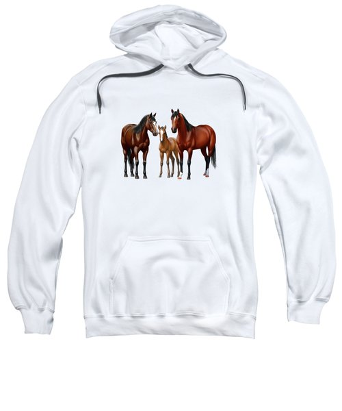 Bay Horses In Winter Pasture Sweatshirt