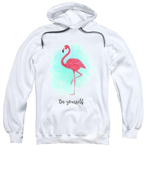 Be Yourself Flamingo Print Sweatshirt by Donna Gilbert
