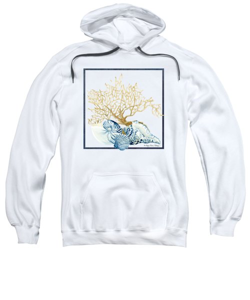 Beach House Nautilus Scallop N Conch With Tan Fan Coral Sweatshirt