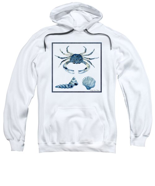 Beach House Sea Life Crab Turban Shell N Scallop Sweatshirt by Audrey Jeanne Roberts