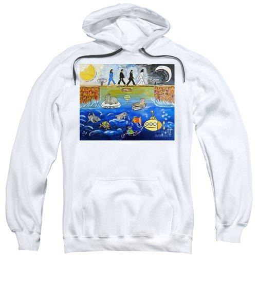 Beatles Song Titles Original Painting Characterization  Sweatshirt