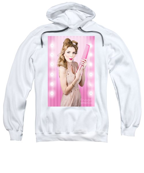 Beautiful Brunette Girl With 50s Pinup Hairstyle Sweatshirt