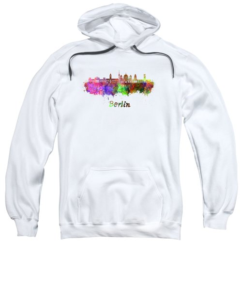 Berlin V2 Skyline In Watercolor Sweatshirt by Pablo Romero