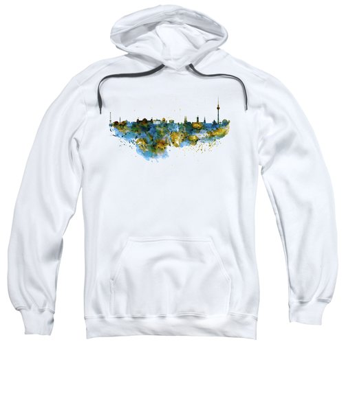 Berlin Watercolor Skyline Sweatshirt by Marian Voicu