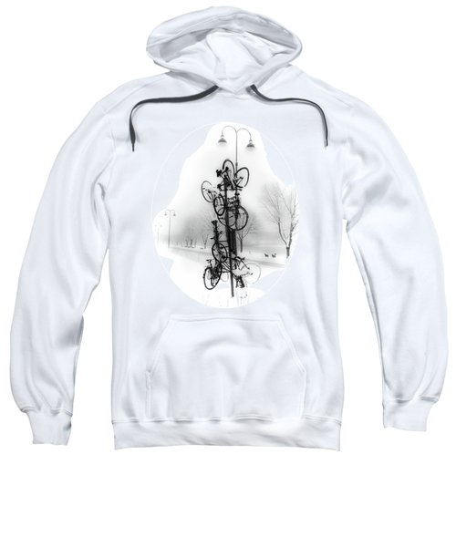 Bicycle Lamppost In Winter Sweatshirt
