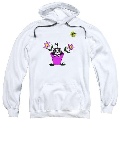 Big Eyed Kitten In Flower Pot Sweatshirt by Lorraine Kelly