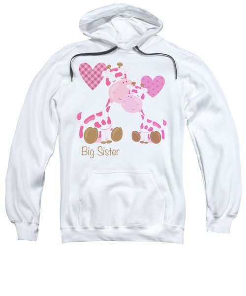 Big Sister Cute Baby Giraffes And Hearts Sweatshirt