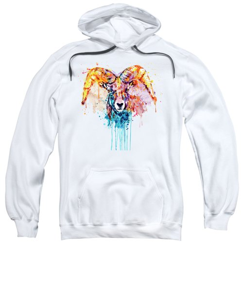 Bighorn Sheep Portrait Sweatshirt by Marian Voicu