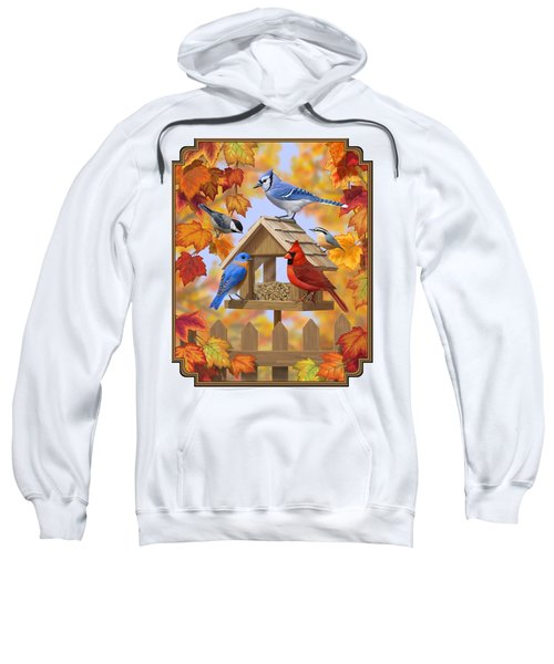 Bird Painting - Autumn Aquaintances Sweatshirt by Crista Forest