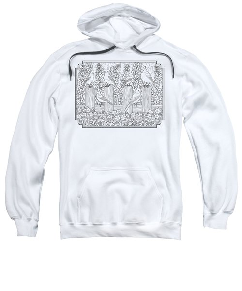 Birds In Flower Garden Coloring Page Sweatshirt by Crista Forest