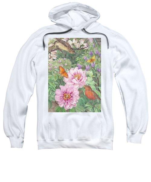 Birds Peony Garden Illustration Sweatshirt
