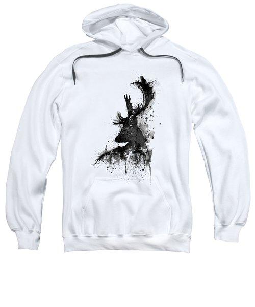 Black And White Deer Head Watercolor Silhouette Sweatshirt
