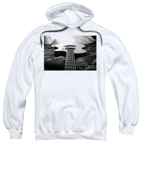 Sweatshirt featuring the photograph Black And White Guitar by MGL Meiklejohn Graphics Licensing