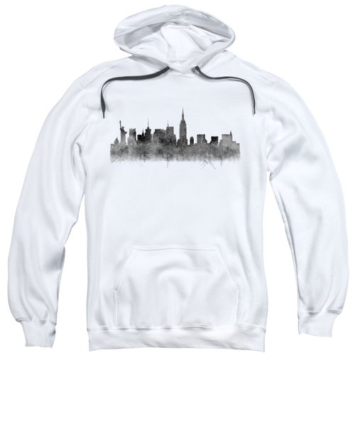 Sweatshirt featuring the digital art Black And White New York Skylines Splashes And Reflections by Georgeta Blanaru